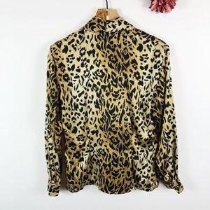 Cache Tops - [CACHE] 100% Silk Leopard Print Long Sleeve Blouse